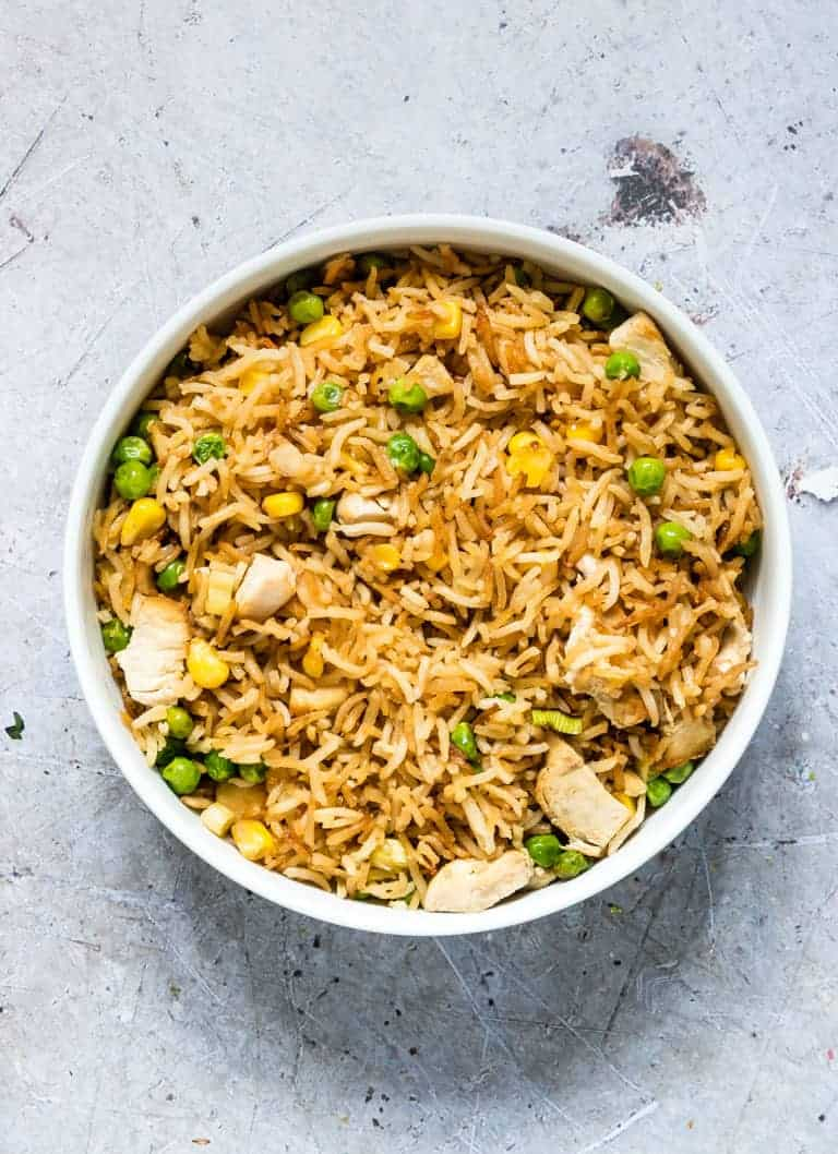close up view of a bowl filled with air fryer fried rice