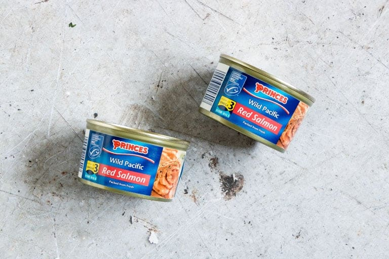 two tins of wild Alaska Red Salmon on a countertop