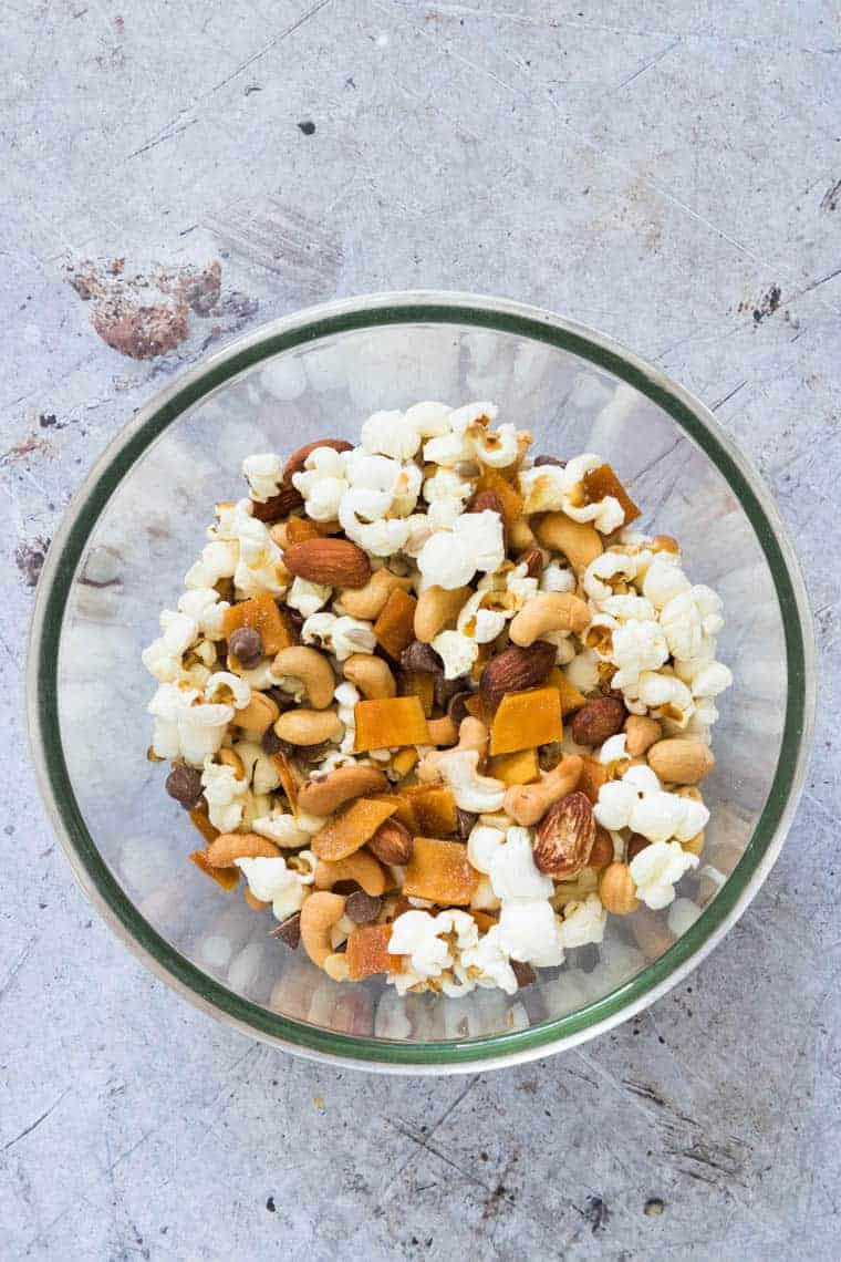 glass bowl filled with healthy trail mix