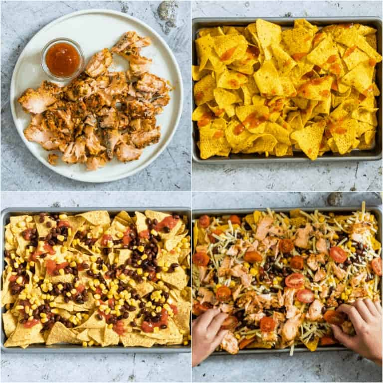 image collage showing the steps for making salmon black ben nachos