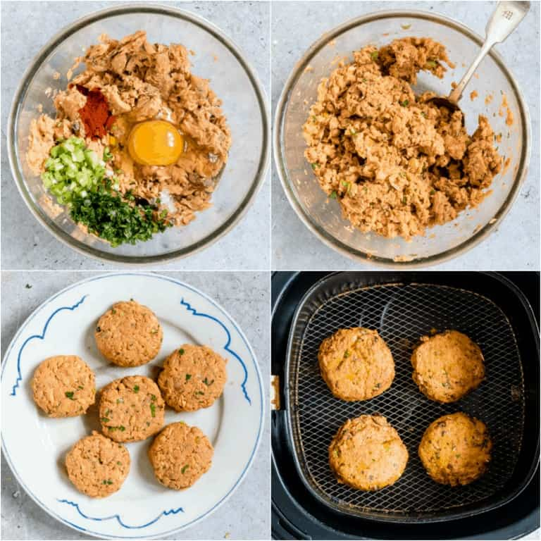 image collage showing the steps for making air fryer salmon patties