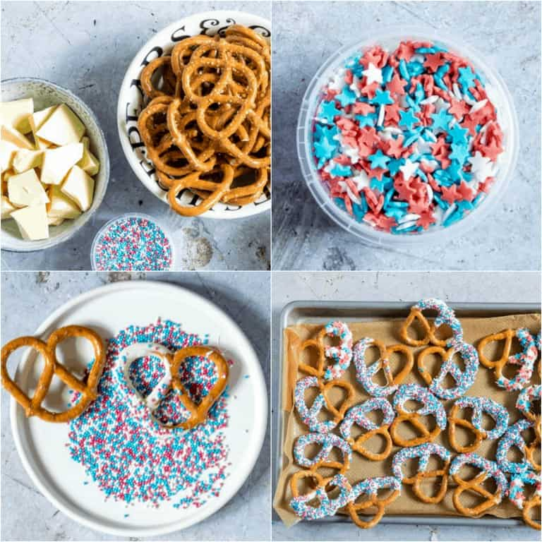 images collage showing the steps for making chocolate covered pretzels