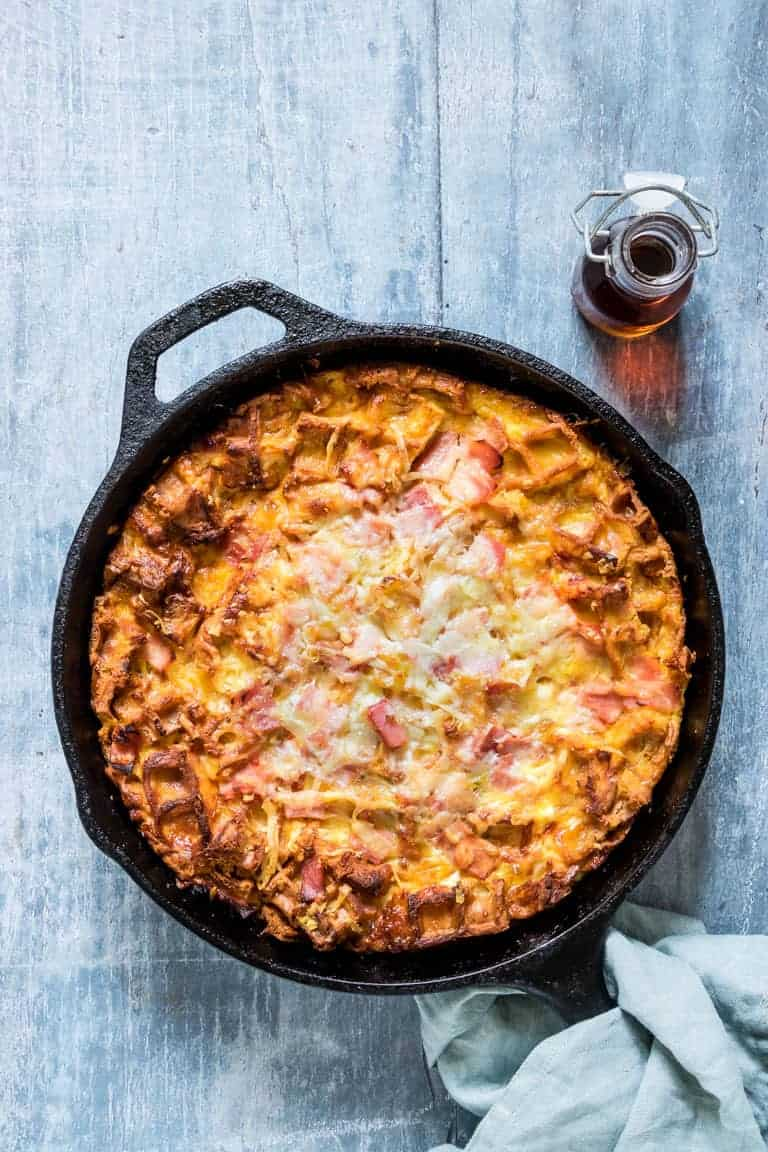 Cooked Cheesy Waffle and Ham Breakfast Casserole in the skillet and ready to serve