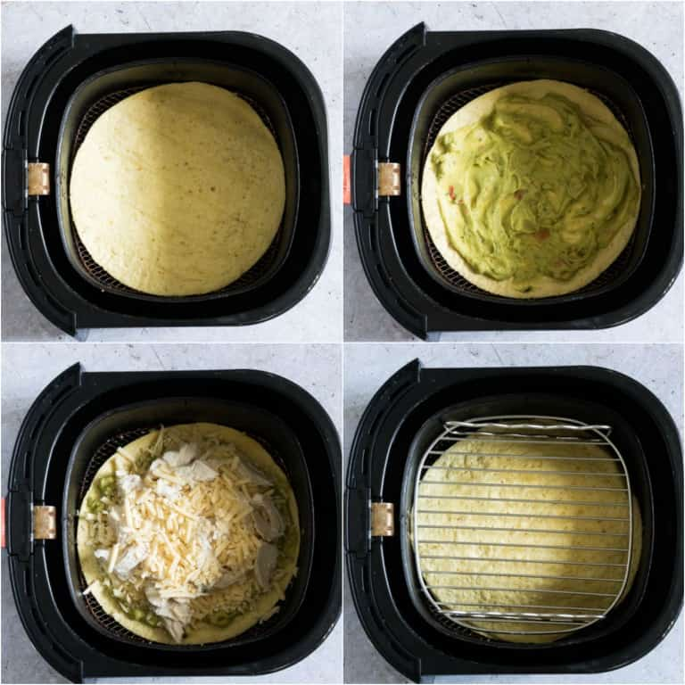 image collage showing the steps for making air fried chicken quesadilla