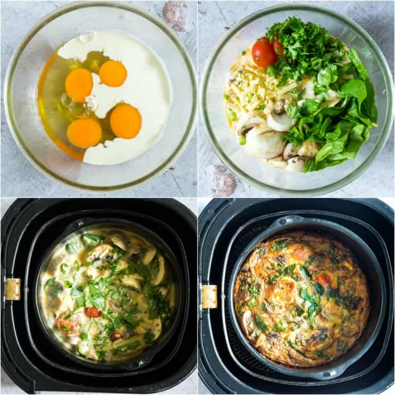 image collage showing the steps for making air fryer frittata