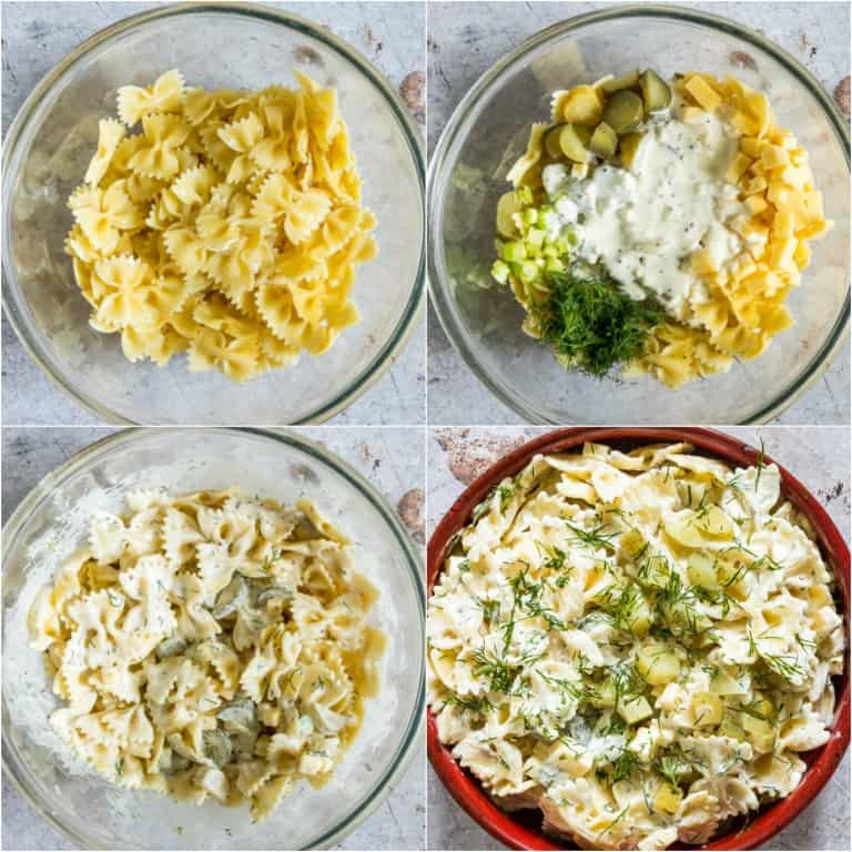 image collage showing the steps for making dill pickle pasta salad