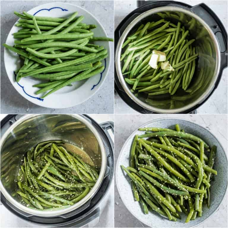 image collage showing the steps for making garlic butter sesame instant pot green beans