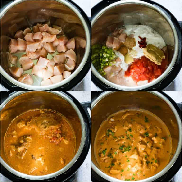 image collage showing the steps for making Instant Pot Peanut Butter Chicken