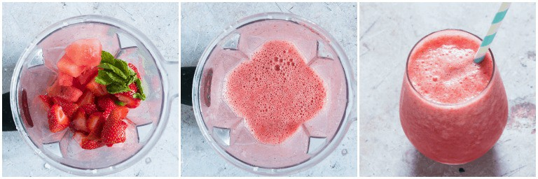 image collage showing the steps for making strawberry watermelon smoothie