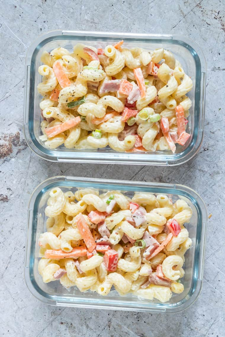 two glass meal prep containers filled with Hawaiian Pasta Salad