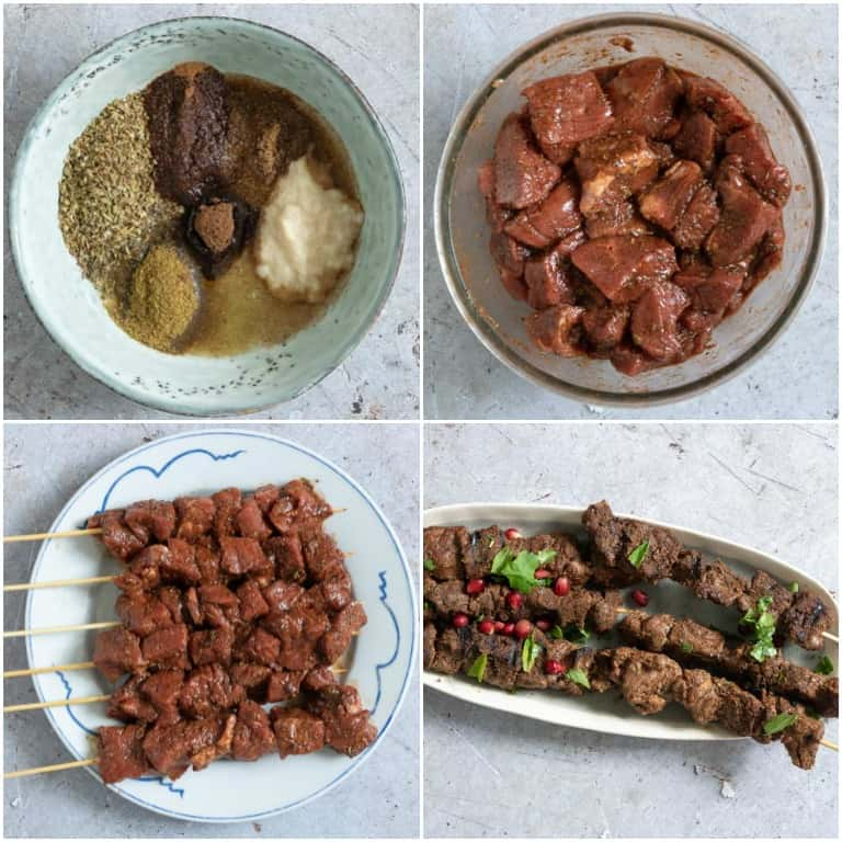 image collage showing the steps for making lamb shawarma