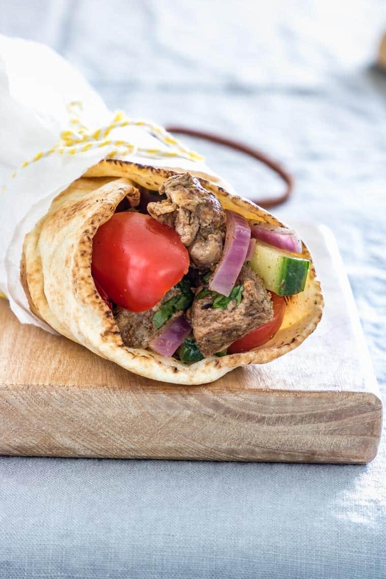 lamb shawarma wrapped in flatbread