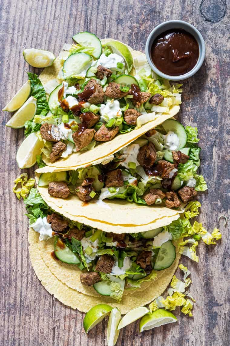 3 grilled lamb tacos served with chipotle sauce