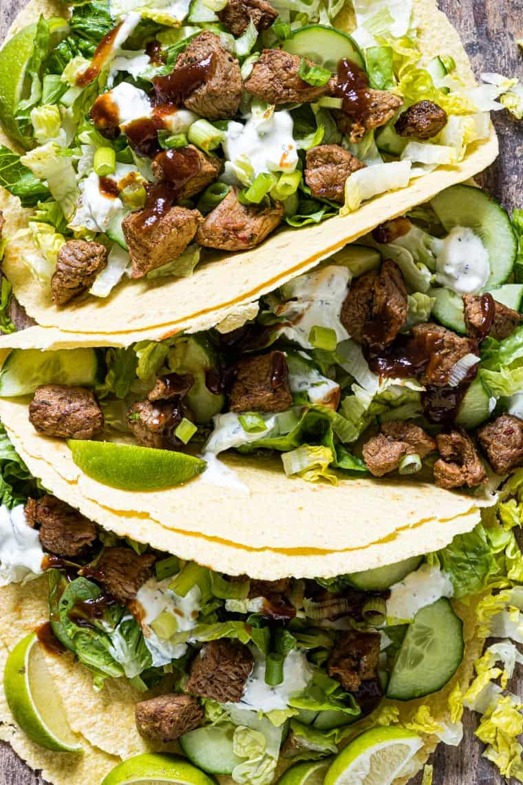 close up view of finished grilled lamb tacos