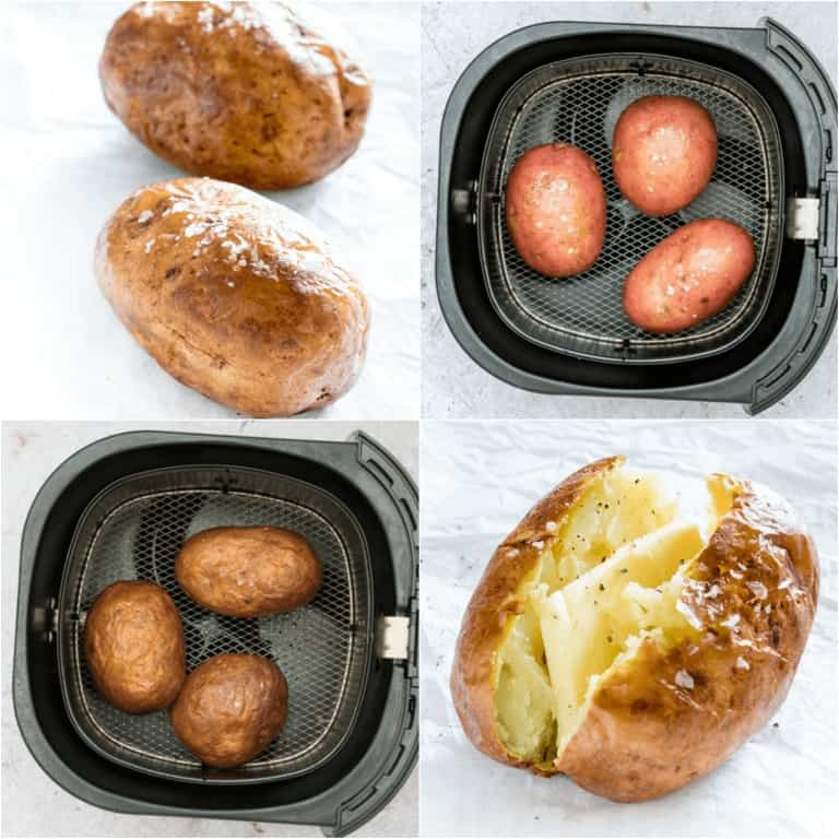 image collage showing the steps for making air fryer baked potatoes